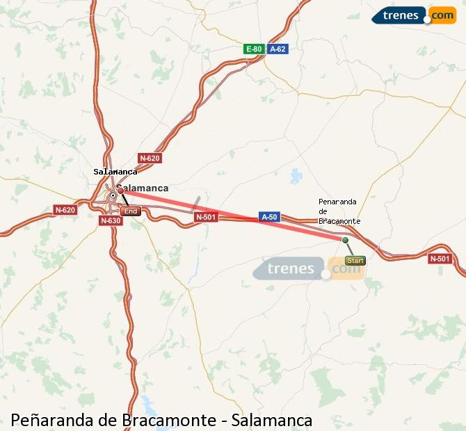 Ampliar mapa Trenes Peñaranda de Bracamonte Salamanca