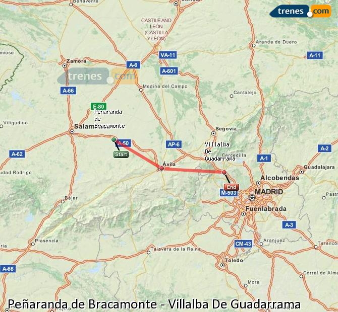 Enlarge map Trains Peñaranda de Bracamonte to Villalba De Guadarrama