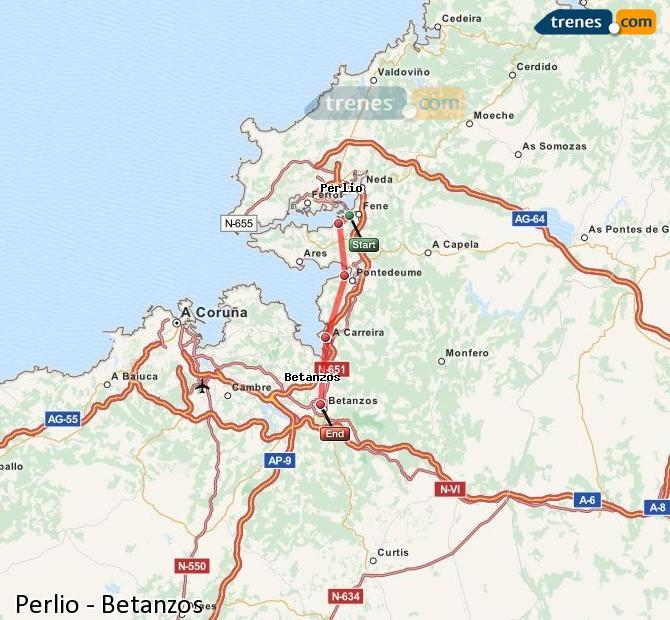 Ingrandisci la mappa Treni Perlio Betanzos