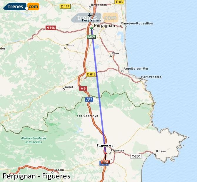 Enlarge map Trains Perpignan to Figueres