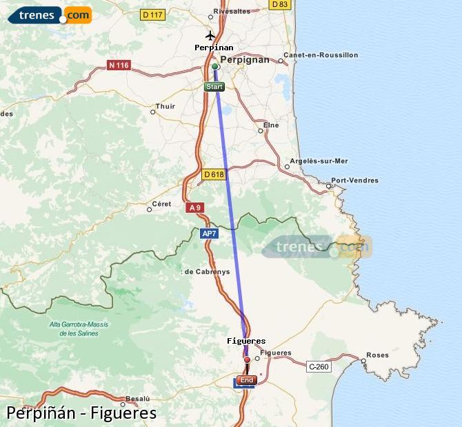 Karte vergrößern Züge Perpiñán Figueres