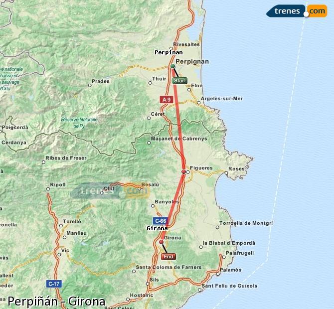 Agrandir la carte Trains Perpiñán Girona
