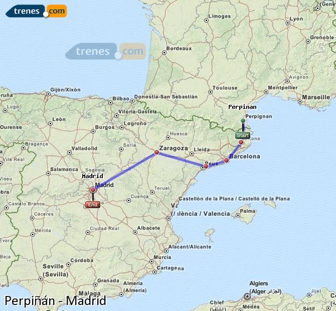 Karte vergrößern Züge Perpiñán Madrid