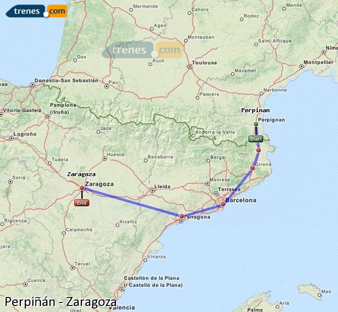 Ampliar mapa Comboios Perpiñán Zaragoza