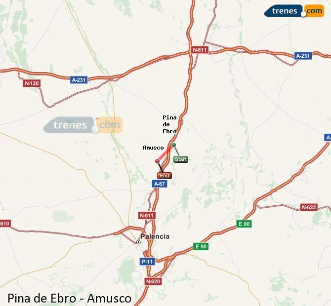 Ingrandisci la mappa Treni Pina de Ebro Amusco
