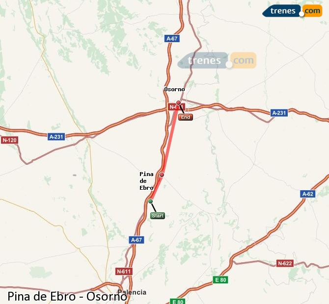 Enlarge map Trains Pina de Ebro to Osorno
