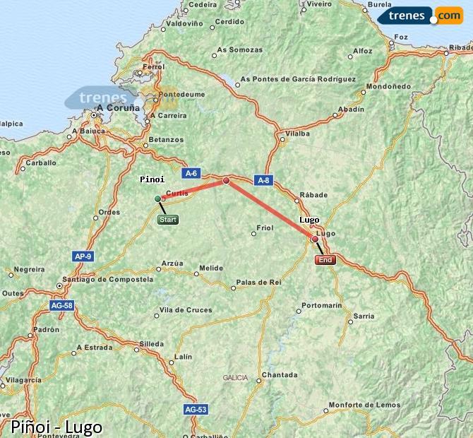 Enlarge map Trains Piñoi to Lugo