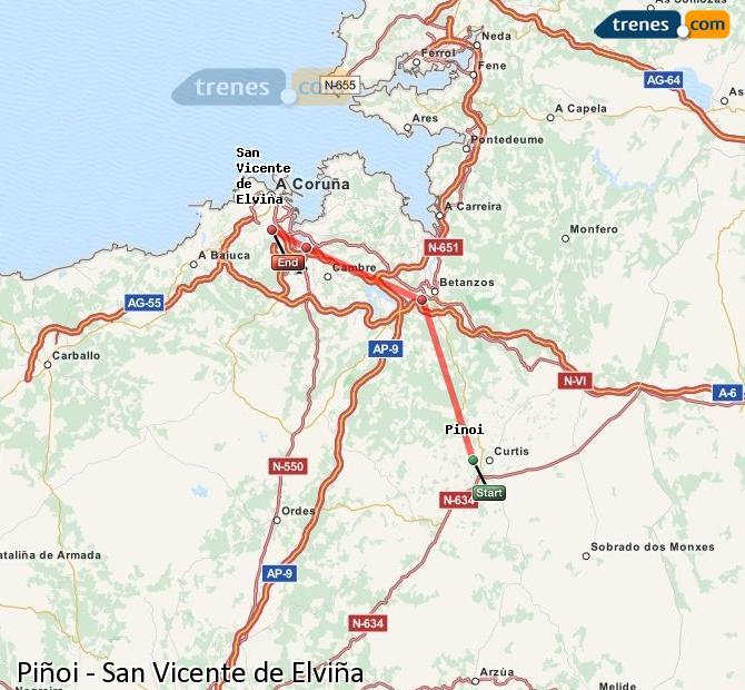 Enlarge map Trains Piñoi to San Vicente de Elviña