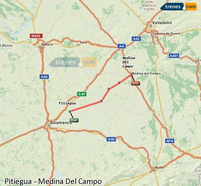 Enlarge map Trains Pitiegua to Medina Del Campo