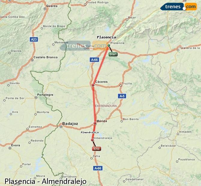 Agrandir la carte Trains Plasencia Almendralejo