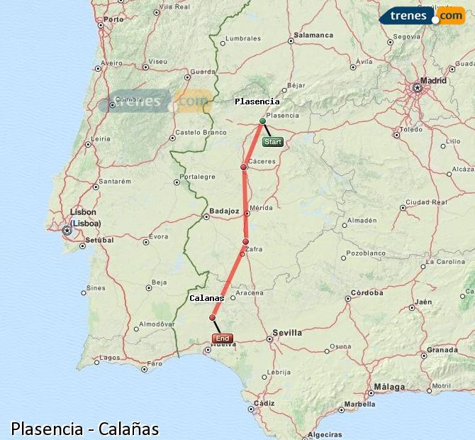 Karte vergrößern Züge Plasencia Calañas