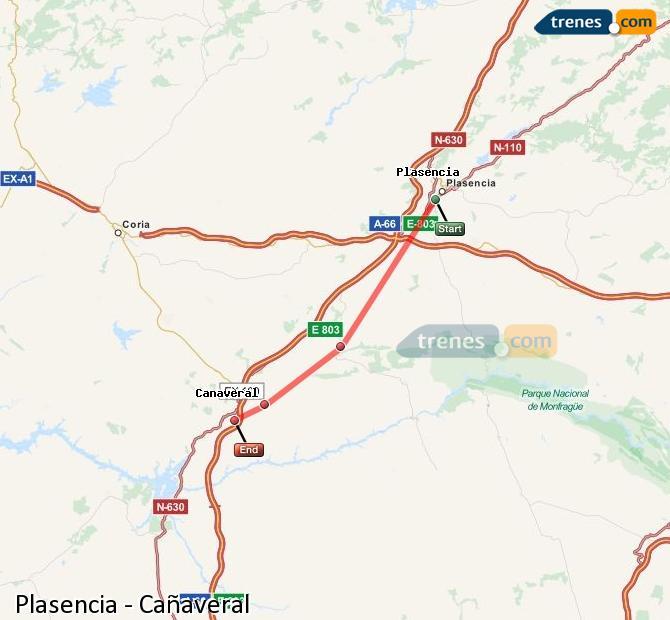 Karte vergrößern Züge Plasencia Cañaveral