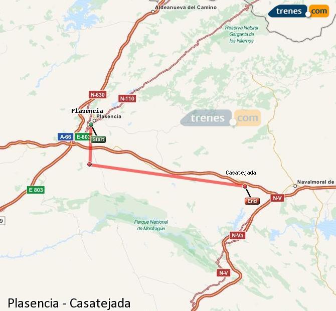 Karte vergrößern Züge Plasencia Casatejada