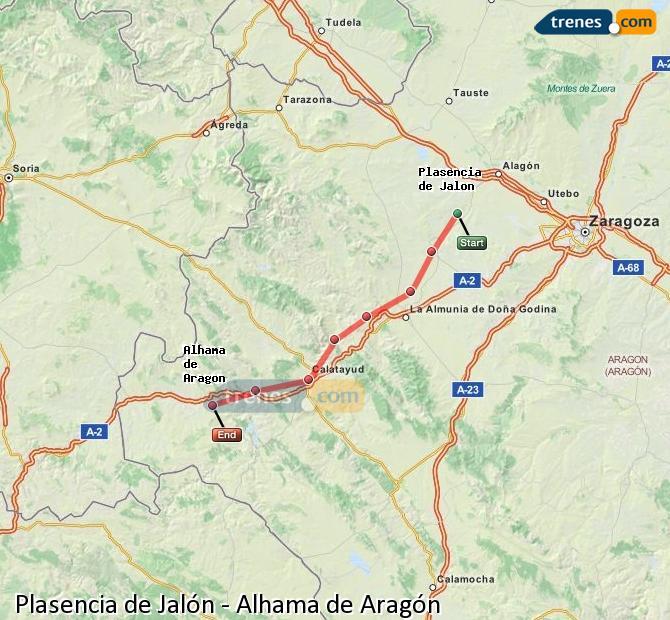 Karte vergrößern Züge Plasencia de Jalón Alhama de Aragón