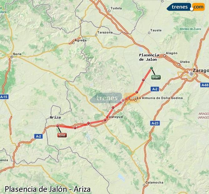 Karte vergrößern Züge Plasencia de Jalón Ariza