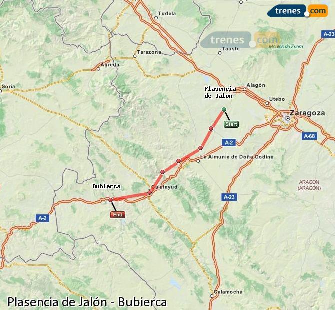 Karte vergrößern Züge Plasencia de Jalón Bubierca