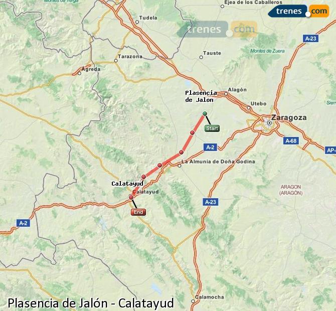 Karte vergrößern Züge Plasencia de Jalón Calatayud