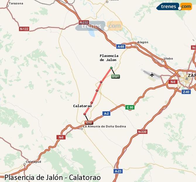 Karte vergrößern Züge Plasencia de Jalón Calatorao