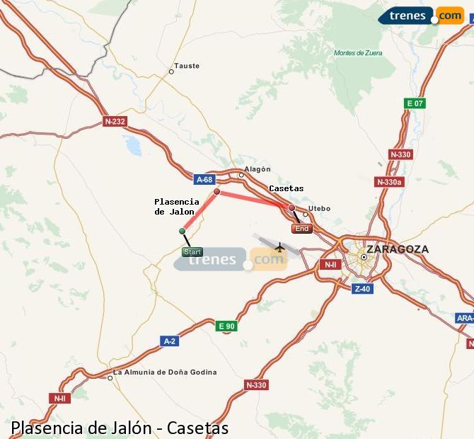 Karte vergrößern Züge Plasencia de Jalón Casetas