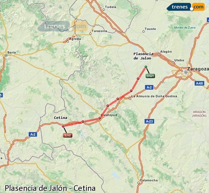 Karte vergrößern Züge Plasencia de Jalón Cetina