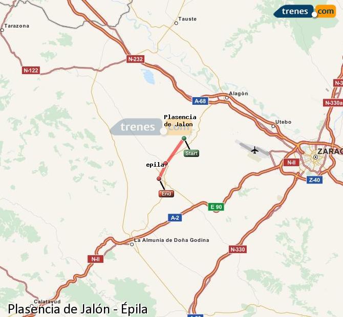 Karte vergrößern Züge Plasencia de Jalón Épila