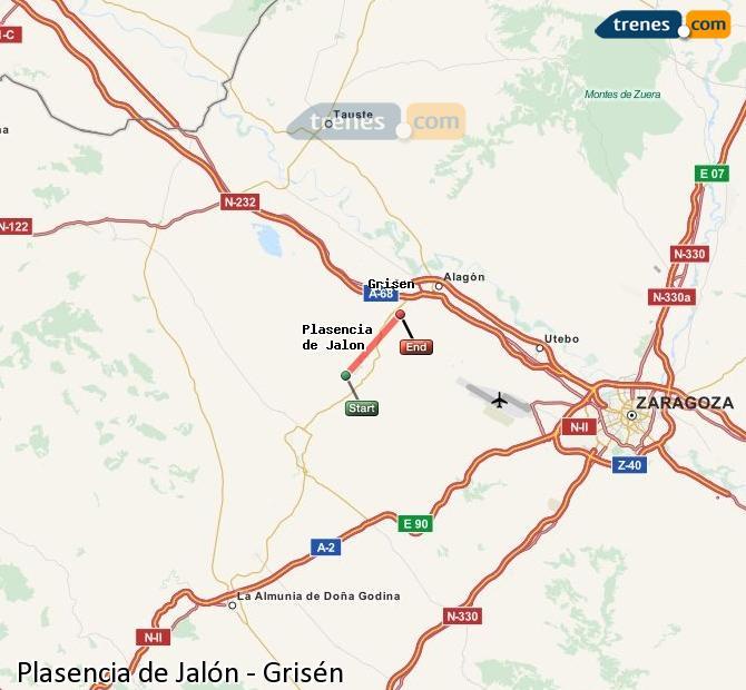 Karte vergrößern Züge Plasencia de Jalón Grisén