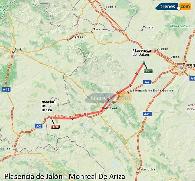 Enlarge map Trains Plasencia de Jalón to Monreal De Ariza