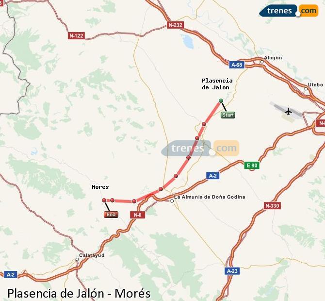 Karte vergrößern Züge Plasencia de Jalón Morés