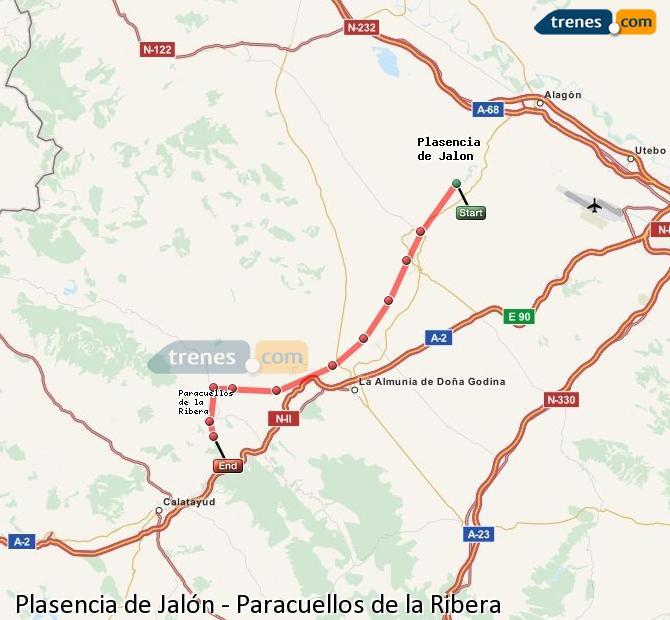 Karte vergrößern Züge Plasencia de Jalón Paracuellos de la Ribera