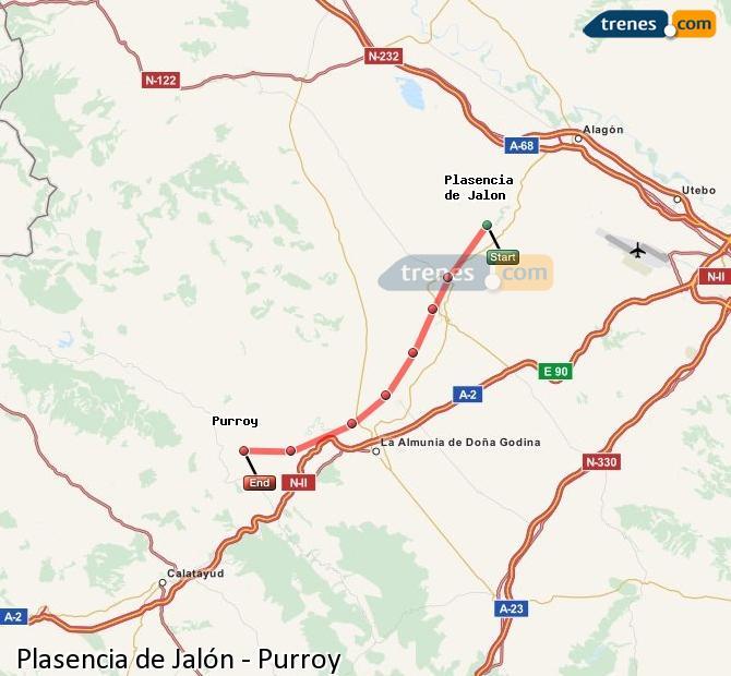 Karte vergrößern Züge Plasencia de Jalón Purroy