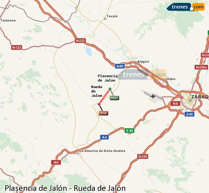 Karte vergrößern Züge Plasencia de Jalón Rueda de Jalón