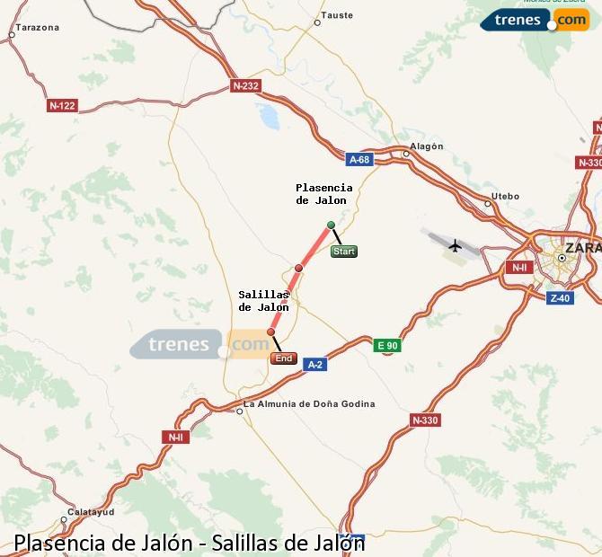 Karte vergrößern Züge Plasencia de Jalón Salillas de Jalón