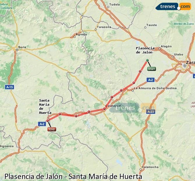 Ingrandisci la mappa Treni Plasencia de Jalón Santa María de Huerta