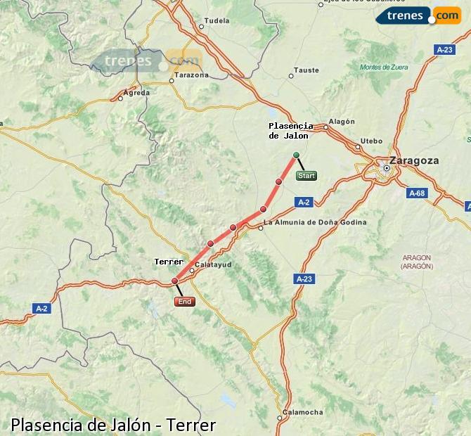 Karte vergrößern Züge Plasencia de Jalón Terrer