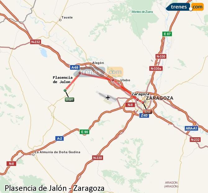 Ingrandisci la mappa Treni Plasencia de Jalón Zaragoza