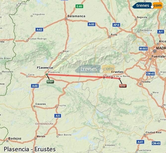 Ampliar mapa Trenes Plasencia Erustes