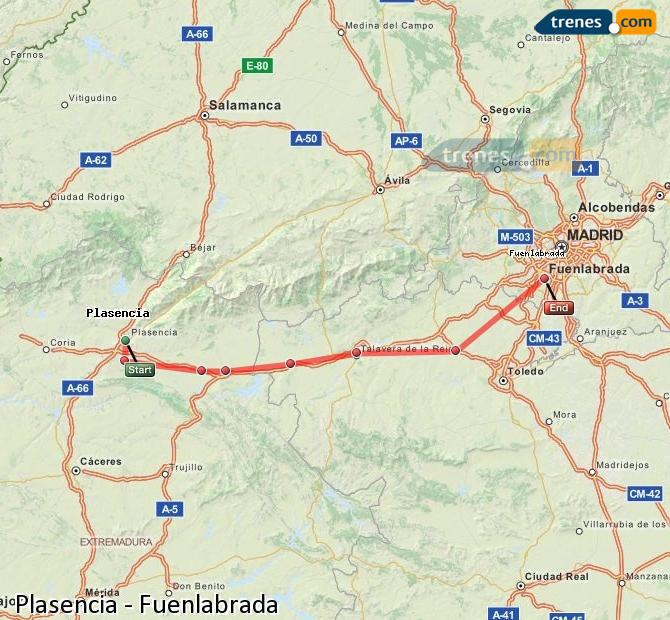 Enlarge map Trains Plasencia to Fuenlabrada