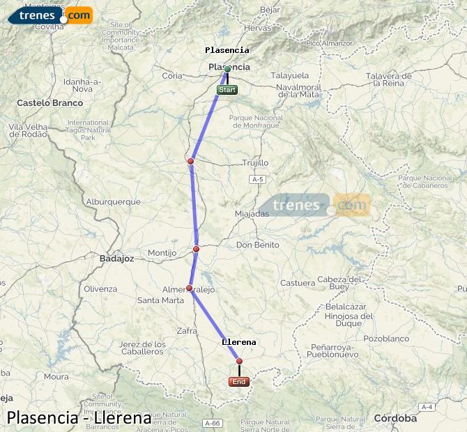 Ingrandisci la mappa Treni Plasencia Llerena