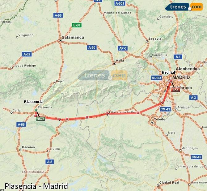 Agrandir la carte Trains Plasencia Madrid
