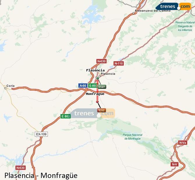 Karte vergrößern Züge Plasencia Monfragüe