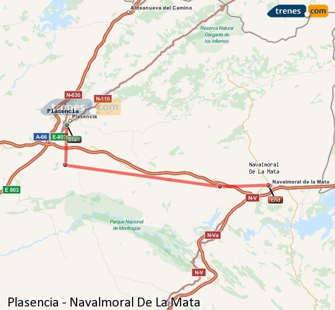 Ampliar mapa Comboios Plasencia Navalmoral De La Mata