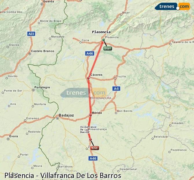 Enlarge map Trains Plasencia to Villafranca De Los Barros