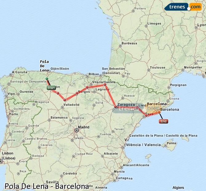 Agrandir la carte Trains Pola De Lena Barcelone