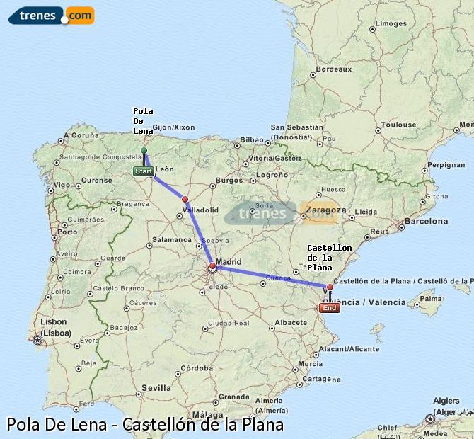 Agrandir la carte Trains Pola De Lena Castellón