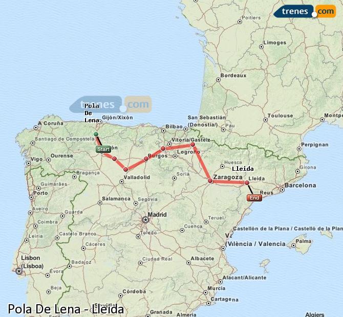 Karte vergrößern Züge Pola De Lena Lleida