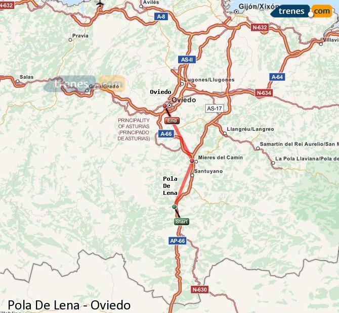 Ingrandisci la mappa Treni Pola De Lena Oviedo