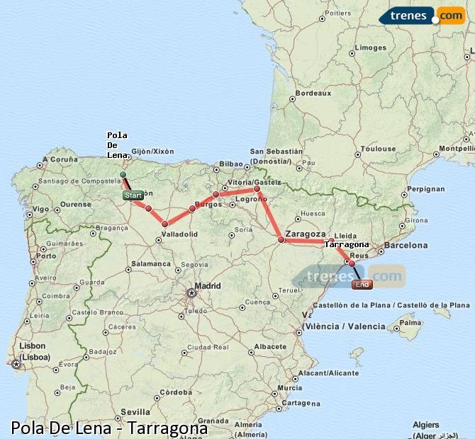 Ingrandisci la mappa Treni Pola De Lena Tarragona