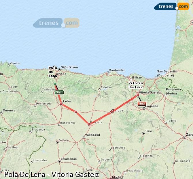 Ingrandisci la mappa Treni Pola De Lena Vitoria Gasteiz