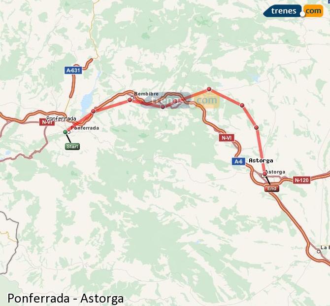 Ingrandisci la mappa Treni Ponferrada Astorga