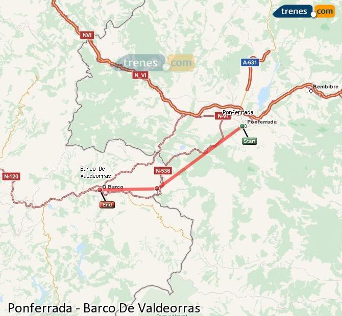 Enlarge map Trains Ponferrada to Barco De Valdeorras